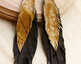 Leather Feather Earrings Brown tones. Bohemian jewelry.