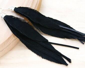 Leather Feather Earrings. Black Suede Earrings. Long Black earrings. Bohemian jewelry.