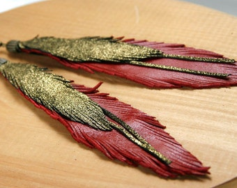 Leather Feather Earrings. Red and Gold. Bohemian jewelry.