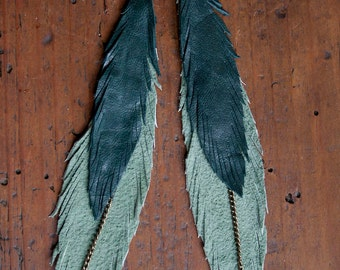 Leather Feather Earrings. Two Tone Green. Bohemian Jewelry.