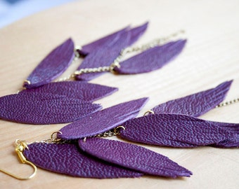 Plum Leather Feather Earrings. Layered with chains. Bohemian Jewelry.
