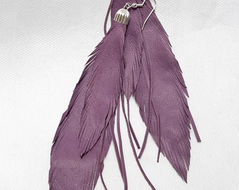 Long Leather Feather Earrings. Lilac Lavender. Bohemian Jewelry.
