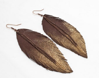 Leather Feather Earrings. Chocolate Brown with Painted Golden tip.