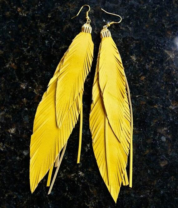 Yellow Leather Feather Earrings. Leather earrings, Long Fringed Earrings. Bohemian jewelry.
