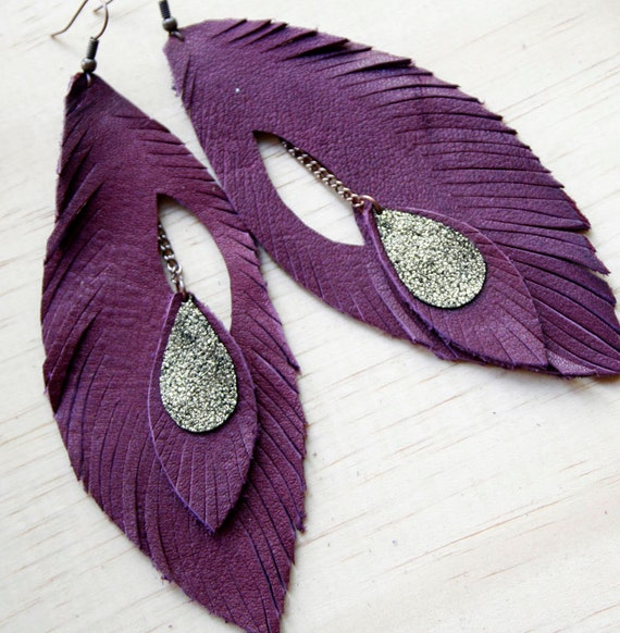 Leather Feather Earrings. Rich Plum. Bohemian Jewelry.