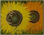 """Sunflower original acrylic painting on canvas """"Cafe Sunshine"""""""