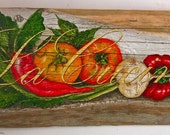 La Cucina Acrylic on rustic reclaimed solid wood board
