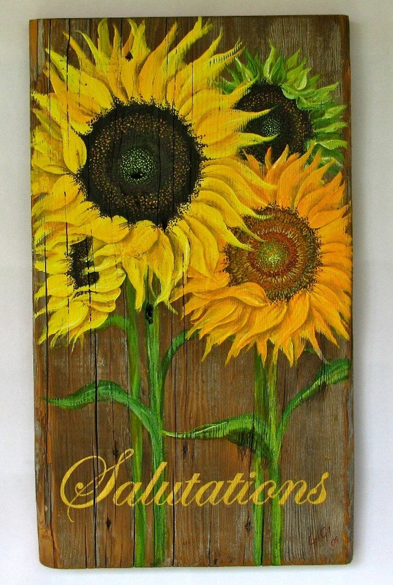 Sunflower original acrylic painting on reclaimed rustic solid wood