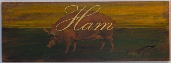 Pig painting Original acrylic on reclaimed rustic solid wood board