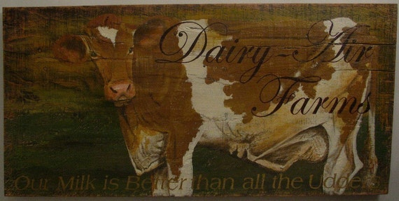 Cow, original acrylic painting on reclaimed rustic soid wood board, Dairy Air Farm
