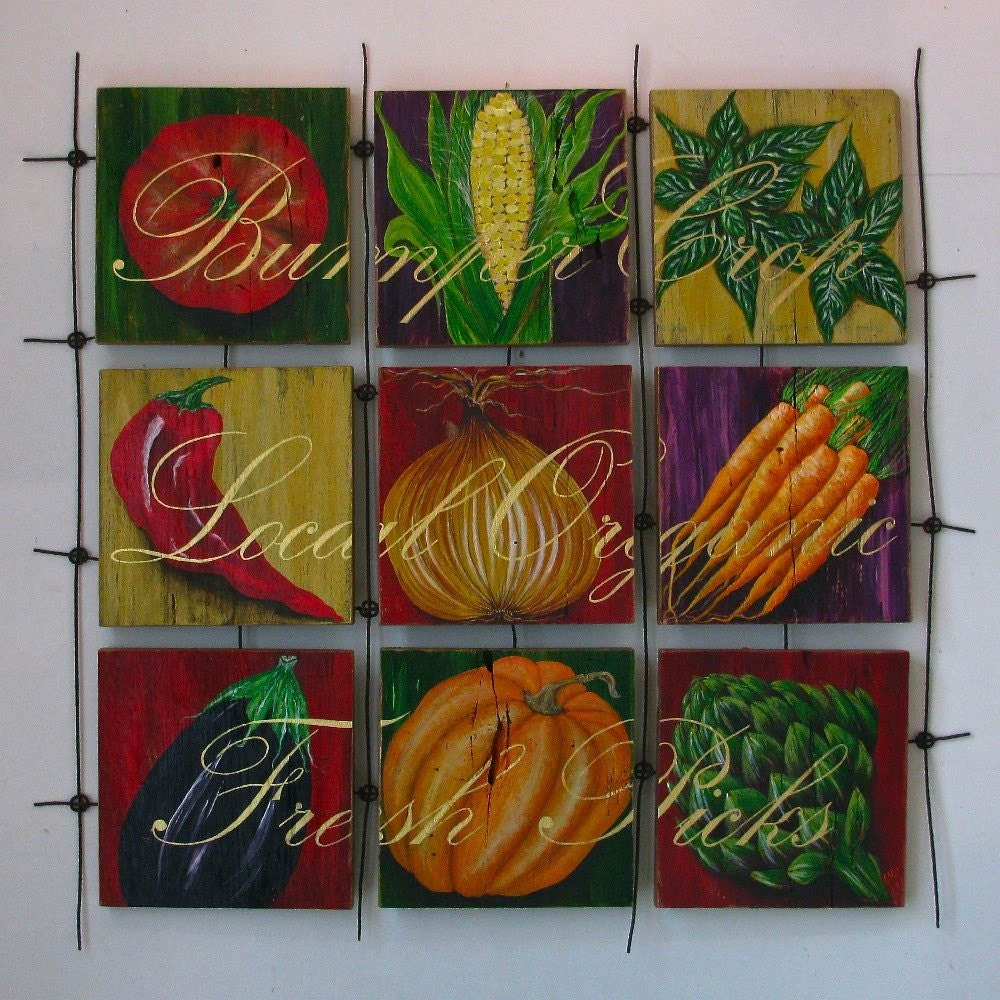 Kitchen Wall Decor Vegetables : Vegetable painting kitchen wall decor original acrylic on