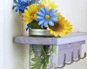 Wood Wall Shelf with 5 Coat Hooks and Mason Jar Vase in distressed Lavendar- Twigs Decor