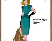PDF - Gene Marshall Doll Clothes Pattern - Dress, Hat, Gloves - No. PDF-6