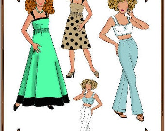 PDF - Ellowyne Wilde Doll Clothes Pattern - Dress, Dress Pants, Shorts - No. PDF-129