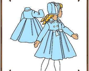 PDF - Betsy McCall Doll Clothes Pattern - Dress Coat, Bonnet - No. PDF-73BMc
