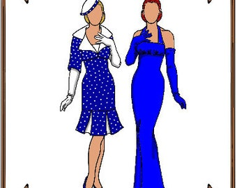 Tiny Kitty Doll Clothes Pattern - Evening Gown or Dress, Jacket, Hat - No. 48TK