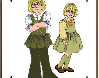"PDF - 10"" Ann Estelle or Patsy Doll Clothes Pattern - Blouse, Jumper, Pants - No. PDF-107"