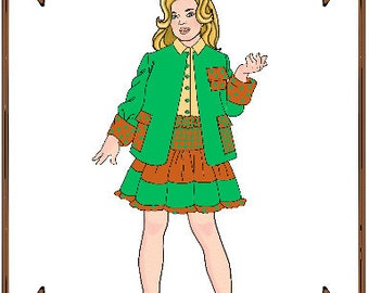 PDF - Bitty Bethany, Bleuette or LeeAnn Doll Clothes Pattern - Jacket, Skirt, Blouse - No. PDF-86