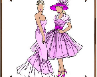 PDF - Tiny Kitty Doll Clothes Pattern - Evening Gown, Gloves, Hat - No. PDF-42TK