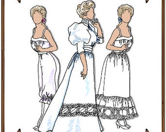 """Doll Clothes Pattern - Camisole, Pantalettes, Petticoat, Blouse, Skirt - No. 39S - Fits 15-16"""" Fashion Dolls"""