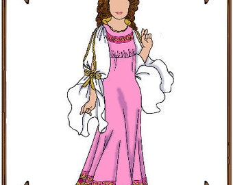 PDF - Betsy McCall Doll Clothes Pattern - Gown, Renaissance Cap - No. PDF-138