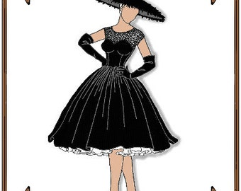 Modern Cissy Doll Clothes Pattern - Cocktail Dress, Stockings, Hat, Gloves - No. 19C