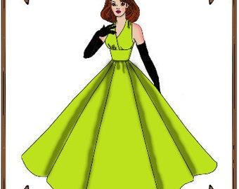PDF - Ellowyne Wilde Doll Clothes Pattern - Evening Gown, Gloves - No. PDF-115