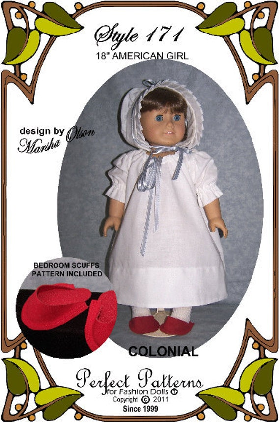 American Girl Doll Clothes Pattern - Nightshift Gown , Sleeping Cap, Slippers - No. 171