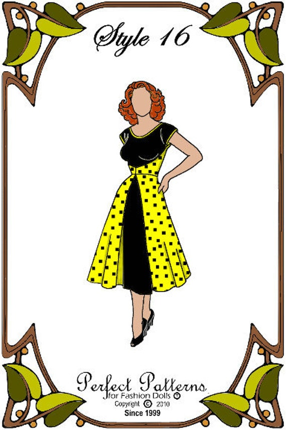 Modern Cissy Doll Clothes Pattern - Day Dress, Hat, Garter Belt - No. 16