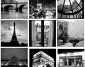 Paris Black and White Photography Collection, Set of 9 Small Photographs of France, 5X5