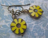 Rustic Glass Flower Earrings Yellow Daisies Antiqued Findings Drops