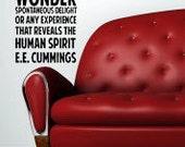 EE Cummings Once we Believe 22x47 Vinyl Decal Home Decor Door Wall Lettering Words Quotes