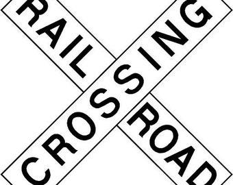 Railroad Crossing Train Traffic Playroom 18x18  Vinyl Decor Wall Lettering Words Quotes Decal Art Custom