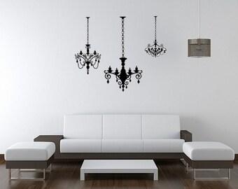 3 Chandeliers Wall Art Design Crystal Vinyl Wall Lettering Words Quotes Decals Art Custom
