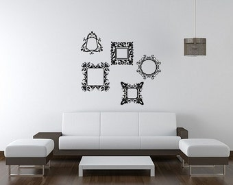 Vintage Damask Photo Frames Vinyl Wall Decal Decor Wall Lettering Words Quotes Decals Art Custom