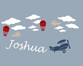 Airplane Name PERSONALIZED Tyson PBK Boy clouds plane Vinyl Wall Lettering Words Quotes Decals Art Custom
