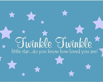 Twinkle Twinkle Little Star Set Vinyl Wall Decal Decor Wall Lettering Words Quotes Decals Art Custom Nursery Rhyme