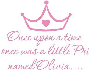Once upon a time 39x22 Pink Cinderella PERSONALIZED Girls Vinyl Wall Decal Sticker Art