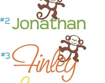 PERSONALIZED Name and Monkey Safari Vinyl Wall Lettering Words Quotes Decals Art Custom