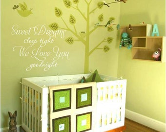 Sweet Dreams Sleep Tight We Love You Goodnight 25.5x22 Nursery Vinyl Decal
