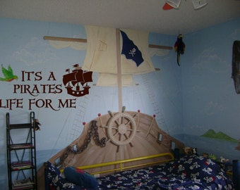 It's a Pirates Life for Me Pirate Ship 39x22 Quote Vinyl Wall Decal Decor Wall Lettering Words Quotes Decals Art Custom
