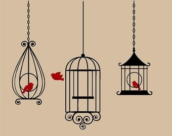 Set of 3 BIRD CAGES Hanging  Vinyl Wall Decal Decor Wall Lettering Words Quotes Decals Art Custom