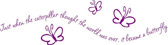 Just when the caterpillar thought the world was over, it became a butterfly 38x10 vinyl wall decal