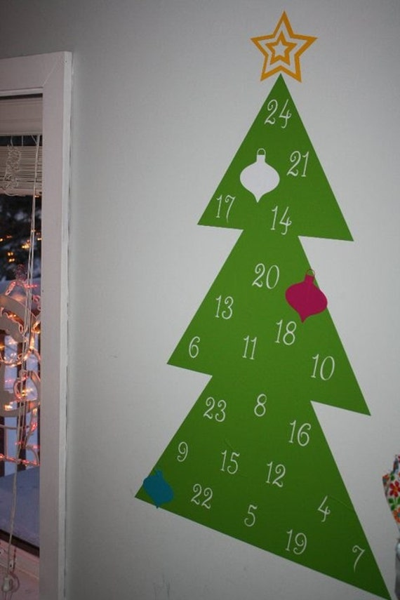 Advent Calendar Vinyl Wall Decal Christmas Tree Ornaments Holiday
