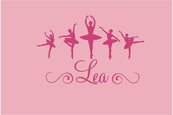 Ballerina Dancer Personalized Name  24x18  Vinyl Wall Lettering Words Quotes Decals Art Custom