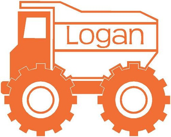 Personalized Dump Truck Construction Name Vinyl wall Lettering Words Quotes Decals Art Custom