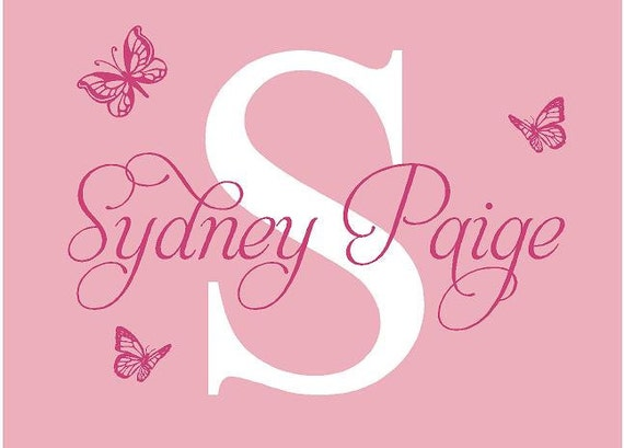 BIG Monogram Name PERSONALIZED initial Butterflies Baby Nursery Teen Girl Vinyl Wall Lettering Words Quotes Decals Art Custom