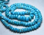 16 inches full strand - so gorgeous - nice deep blue colour - arizona - natural - tourquise - micro faceted - rondell beads  size 6.5 - 4 mm