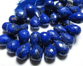 15pcs AAA  - Gorgeous Peacock Blue Natural Colour Lapis Lazuli Super Sparkle Faceted Tear Drops Briolett Huge size 8 - 14 mm
