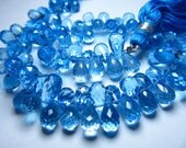 8 inches -- AAAAAAAA - awesome high quality very very beautifull nice clean - swiss blue topaz - super super sparkle - micro faceted - tear